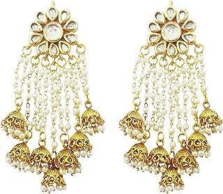 Pearls Kundan Long Earrings With Seven Jhumkis & Free Kan Chain For Women (JWL1754)