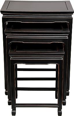 Oriental Furniture Rosewood Nesting Tables - Antique Black