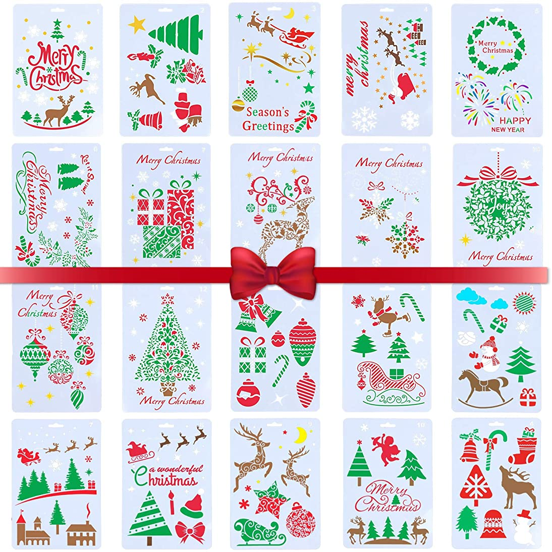 YOUTH UNION 20 Pcs Christmas Stencils Journal Template Painting Stencil - Merry Christmas, Santa Claus, Xmas Trees, Snowflakes, Reindeers,Gift Boxes for Card DIY Drawing Painting Craft Projects