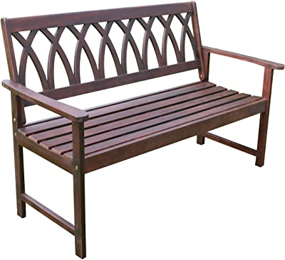 northbeam Criss Cross Acacia Wood Outdoor Garden Patio Bench, Natural, BCH0330610810