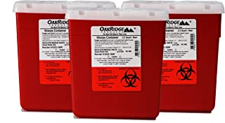 Oakridge 2.2 Quart Sharps Container (3 Pack) with Rotating Safety lid, Great for Travel