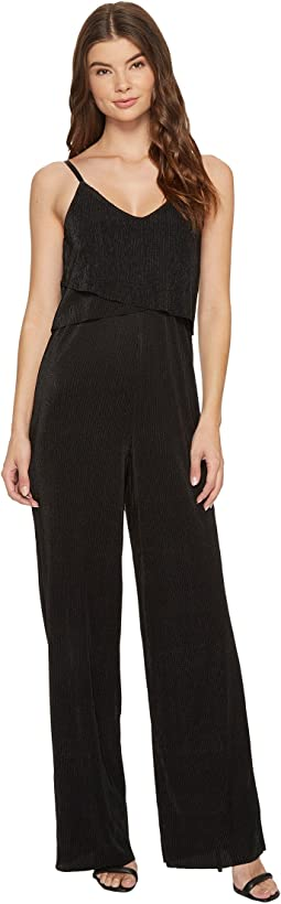 V-Neck Layered Wide Leg Jumpsuit