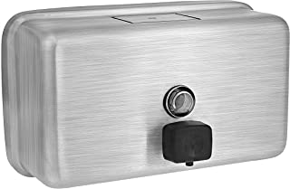 Alpine Manual Surface-Mounted Stainless Steel Liquid Soap Dispenser, 40 oz Capacity (Horizontal)