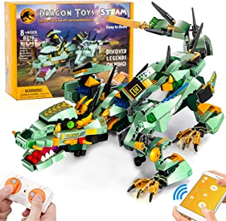 NextX Remote & APP Control Dragon Building Kit, Driving Dragon Featuring Moving Dinosaur Set Kids Toys for Boys and Girls ...