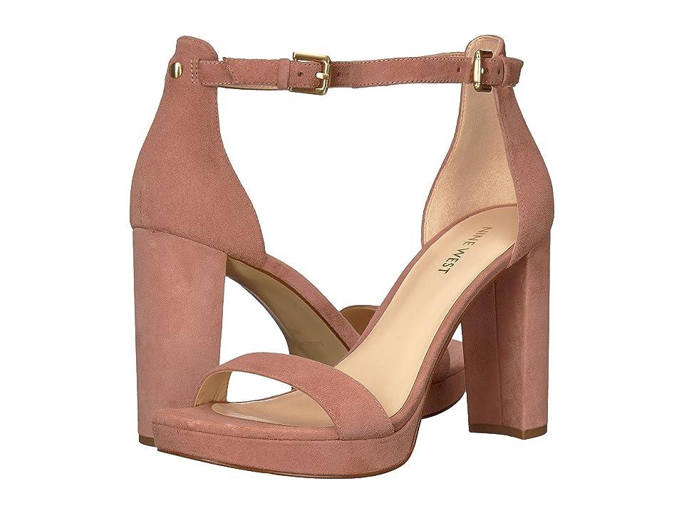 Nine West Dempsey Platform Heel Sandal (Dusty Coral Isa Kid Suede) Women