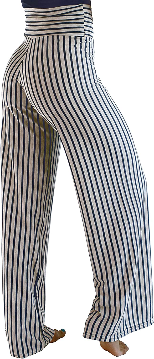 Hali Cali Women's Straight Beige Navy Striped Pants Casual Loose Wide Leg fold Over Comfy Palazzo Pants