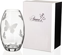Butterfly Vase - Luxury Handmade Glass Vase - Decorated with Sandblasted Butterflies - in an Elegant Satin Lined Gift Box - European Design - Clear, 9.1 inch (23 cm)