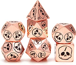 Metal Dice DND Skull Dice Set D&D 7PCS of D20 D12 D10 D8 D6 D4 for Dungeons and Dragons Board Games RPG and MTG or Math Te...