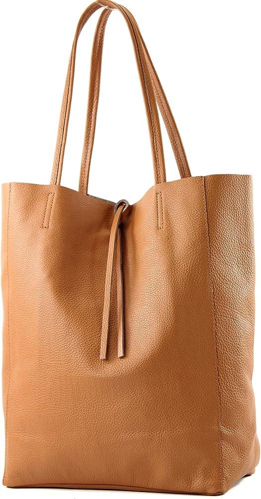 Modamoda de, borsa in pelle, shopper per donna a spalla, cognac T163COG