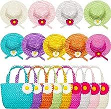 Zhanmai 9 Sets Girls Tea Party Hats Purse Daisy Flower Sun Straw Hat and Purse Sets Includes 9 Purses 9 Daisy Flower Sunhats 9 Colors