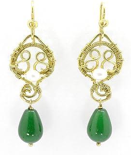 Orecchini Giada ottone vintage antichi goccia verdi perle pietre dure artigianali regalo festa mamma donna lunghi pendenti...