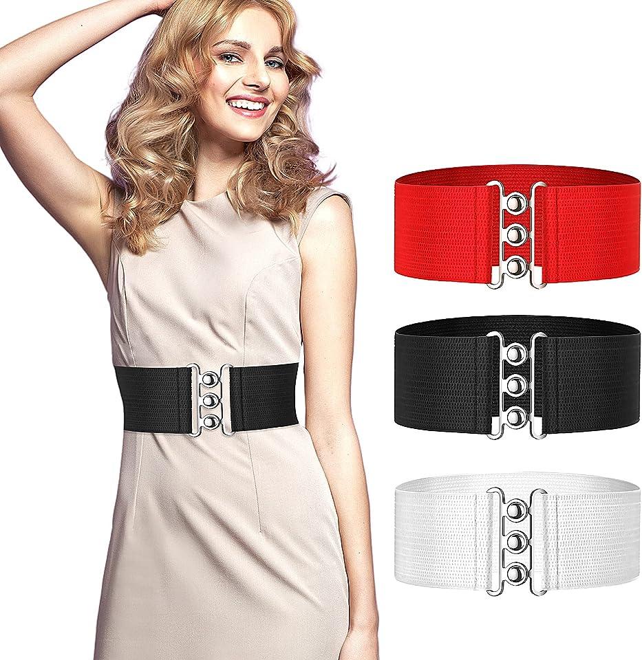 3 Pieces Women Vintage Waist Belt Cinch Belt Retro Style 1950's Elasticated Wide Dress Belt for Women Dresses Gowns