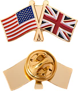 United Kingdom UK Country Double Flag Lapel Pin Enamel with United States USA US Souvenir Hat Men Women Patriotic Great Britain (Double Flag Pin)