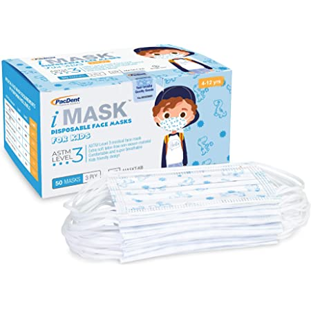 Pac-Dent iMask Premium ASTM Level 3 Kid Face Masks with Adjustable Nose Piece and Soft Ear Loops 50-Pack, Blue