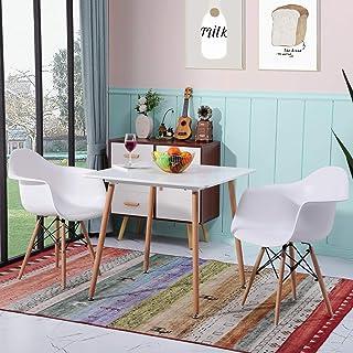 H.J WeDoo Table à Manger Carrée Table Scandinave Moderne et Minimaliste avec Pieds Ronds en Bois 80 x80 x75 cm (Blanc)