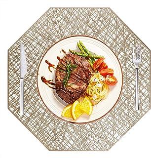 Manteles Individuales PVC Lavables Juego de 6, Antideslizante y Resistente al Calor de Vinilo Mantel Individual para Mesa de Comedor, Dorado
