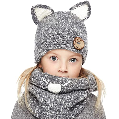 2811f2a5e Sumolux Winter Kids Warm Cat Animal Hats Knitted Coif Hood Scarf Beanies  for Autumn Winter