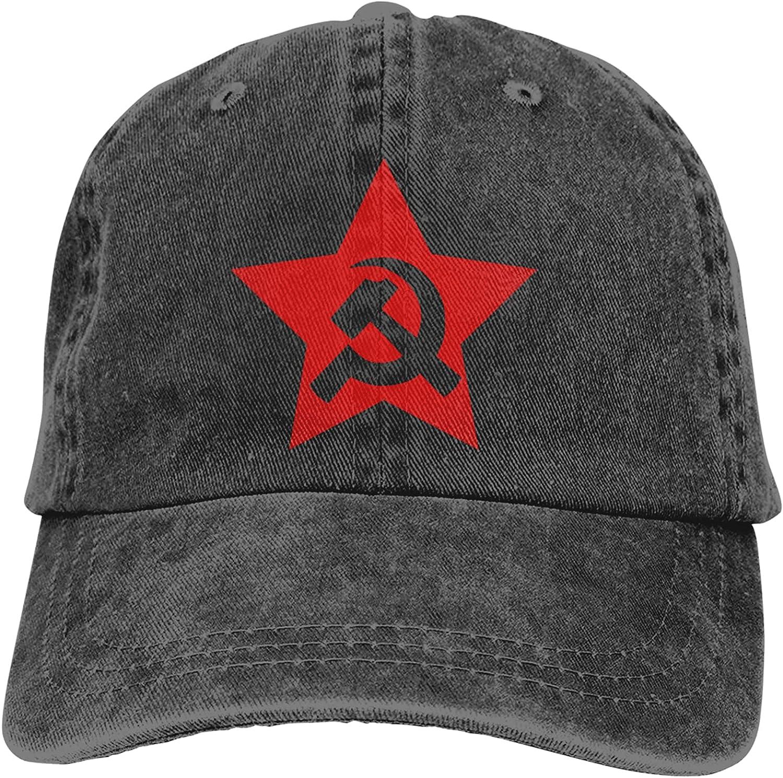 CUTEDWARF Communist USSR Hammer Sickle Unisex Adjustable Cotton Baseball Hat Cowboy Cap Dad Hats Denim Trucker Hat