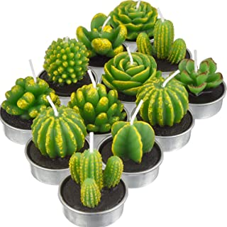 TecUnite 12 Pieces Cactus Tealight Candles Handmade Delicate Succulent Cactus Candles for..