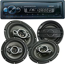 "$82 » 4X Audiobank AB-630 800 Watts 6.5"" 4-Way Car Audio Stereo Coaxial Speakers and Blaupunkt Irvine70 1 Din MP3 Receiver USB A..."