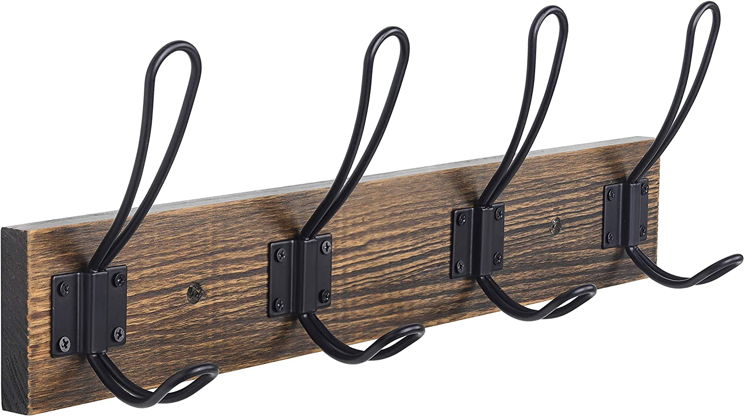 Rustic Coat Rack, Wall Mounted Coat Hook with 4 Farmhouse Hooks, Solid Pine Wood, Perfect Touch for Your Entryway Bathroom Kitchen to Hang Coat Clothes Hat Purse Bag Towel Robes (Brown)