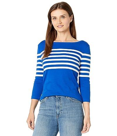 LAUREN Ralph Lauren Petite Striped Cotton Boatneck Top