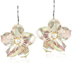 Hand Carved Mother of Pear Tropical Flower with Faux Pearl Inlays Dangle Earrings