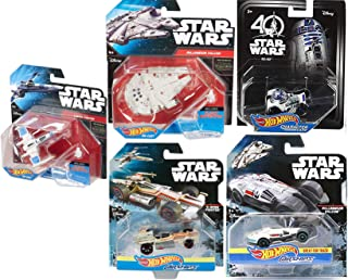 Hot Wheels r2-D2 Droid Car Compatible Bundled with Carship Millennium Falcon & X-Wing + Starship Force Awakens Blue X-Wing Fighter & Millennium Falcon 5 Items