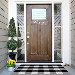 Buffalo Plaid Rug 27.5 x 43 Inches Black and White Checkered Rug Cotton Hand-Woven Front Doormat Outdoor or Indoor Rugs fo...