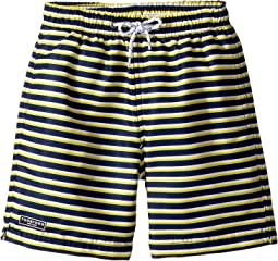 Toobydoo - Navy Yellow Stripe Swim Shorts (Infant/Toddler/Little Kids/Big Kids)