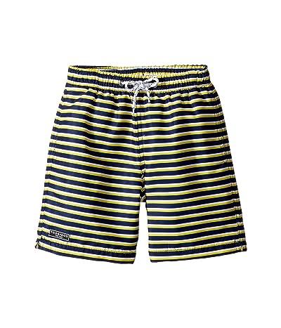 Toobydoo Navy Yellow Stripe Swim Shorts (Infant/Toddler/Little Kids/Big Kids) (Blue/Yellow) Boy