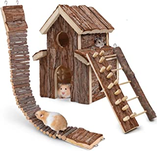 HWONMTE Hamster Toys House 3 Pack Guinea Pig Toys Hamsters Climbing Ladder Brige Natural Wooden Funny Play Toy Chews for S...