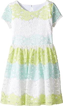Stripe Lace Dress w/ Cut Out Back (Big Kids)