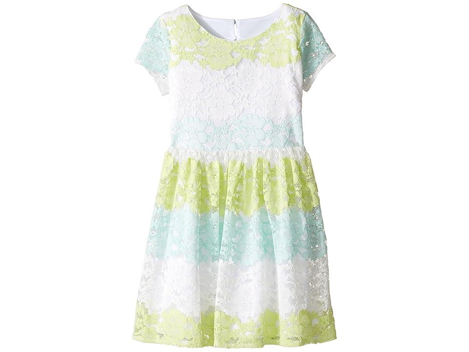 Us Angels Stripe Lace Dress w/ Cut Out Back (Big Kids) (Mint) Girl