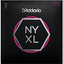 D'Addario NYXL0942-3P Nickel Plated Electric Guitar Strings, Super Light,09-42 (3 Sets) – High Carbon Steel Alloy for Unprecedented Strength – Ideal Combination of Playability and Electric Tone