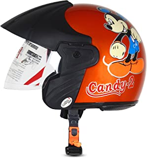ACTIVE CANDY-2 Open Face Face Helmet for Kids from 3 to 6 Years (ORANGE,Size-Extra Small)(CARTOON CHARACTERs MAY VERY) (ORANGE)