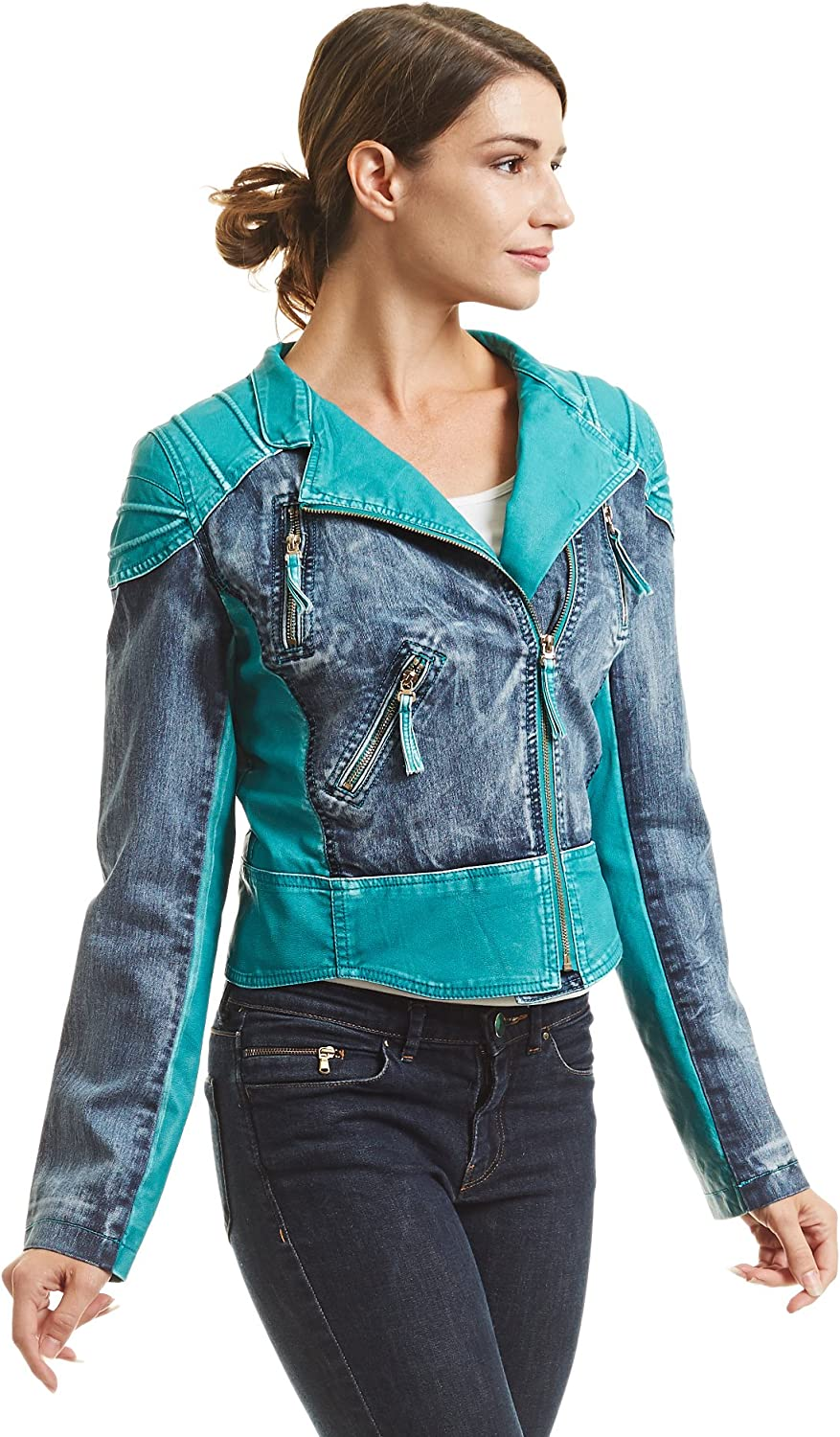 Come Together California CTC Womens Faux Leather Denim Motorcycle Jacket