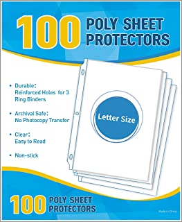 Phetronix 100 Pack Sheet Protectors for Letter Size Paper