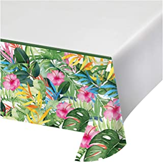 """Creative Converting Floral Paradise Paper Tablecloth, 54"""" x 102"""", Green, Yellow, Pink, and Blue"""