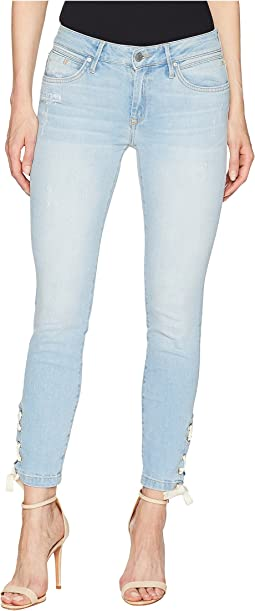 Adriana Mid-Rise Super Skinny Ankle in Bleach Summer Lace