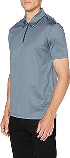 [ヒューゴ] ポロシャツ マーセライズドコットン ジップネック スリムフィット ポロシャツ メンズ