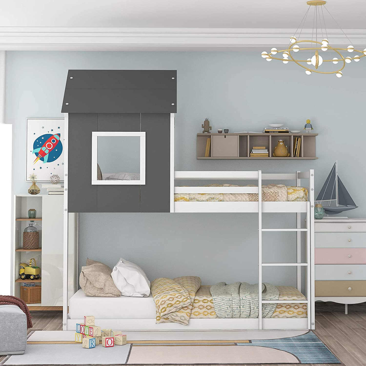 FAMIROSA Loft In a popularity Bed Twin-Over-Twin Full House Today's only Frames Bunk