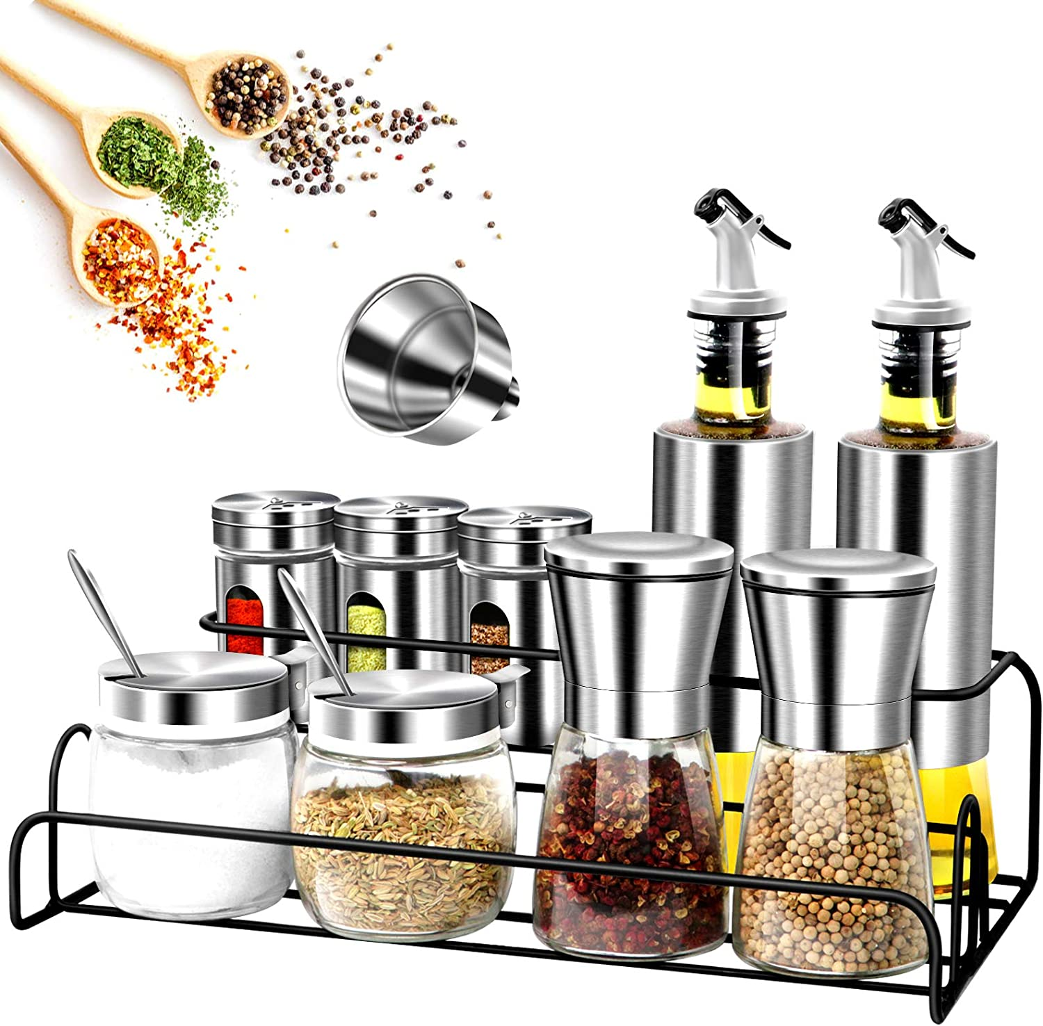13Pcs Spice Containers Sacramento Mall Glass Set 2021 new Salt Rack with Include a