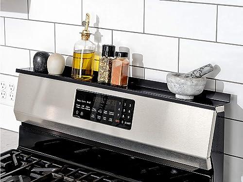 "StoveShelf Magnetic Shelf for Kitchen Stove - Kitchen Storage Solution with Zero Installation - Black - 30"" Length"