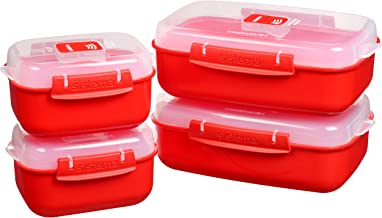 Sistema 82005 Heat and Eat Microwave Set | 4 Rectangular Food Containers with Lids (2X 1.25L + 2X 525ml) | Locking Clips &...
