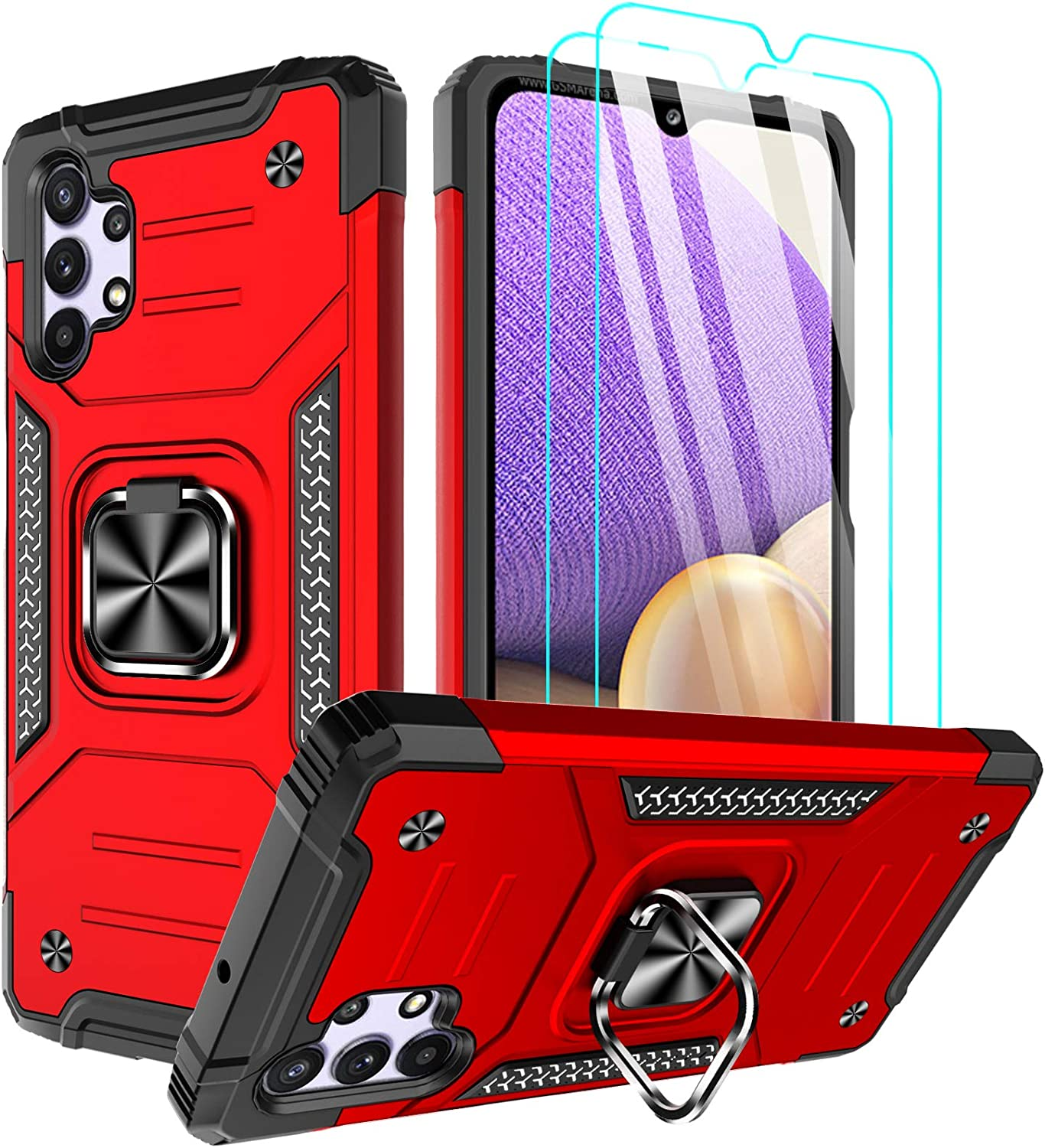 ChacXXLI for Samsung A32 5G Case, Samsung Galaxy A32 5G Case with [2 Pack] Tempered Glass Screen Protector, Rotating Ring Kickstand Impact Resistant Phone Case for Galaxy A32 5G - Red