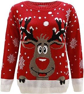 Kids Ladies Womens Knitted Reindeer Christmas Xmas Snow Flakes Jumper TOP Plus Size 3-30