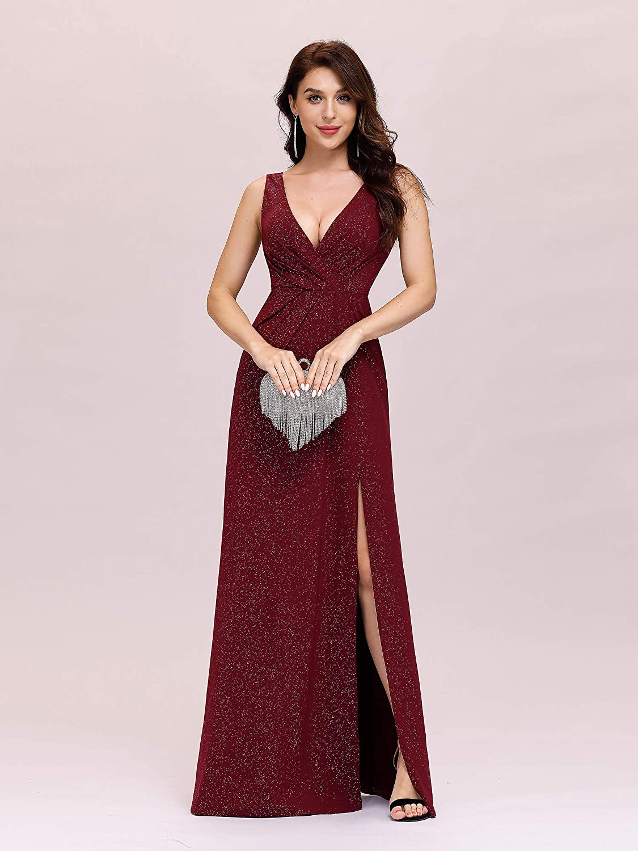 Ever-Pretty Women's V-Neck Glitter Dress Side Split Evening Dress 7505