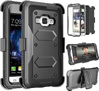 Tinysaturn Galaxy Sky Case, J3 / J3 V Case, Express Prime Case, Amp Prime Case, (TM) [Black] [Yvenus Series] Shock Absorbing Holster Belt Clip [Built-in Screen] Cover Case for Samsung Galaxy Sol