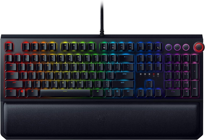 RAZER BlackWidow Elite: Esports Gaming Keyboard - Multi-Function Digital Dial with Dedicated Media Controls - Ergonomic Wrist Rest - RAZER Green Mechanical Switches (Tactile and Clicky) (Renewed)